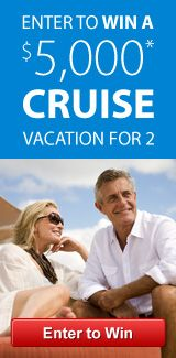 Win a cruise. Sign up on my web site to enter  a contest to win a cruise for 2, including air.  You will be entered each year as long as you remain in my data base. http://www.cruiseshipcenters.ca/GailBoyes in Canada and in the US. http;//www.cruiseshipcenters.com/GailBoyes