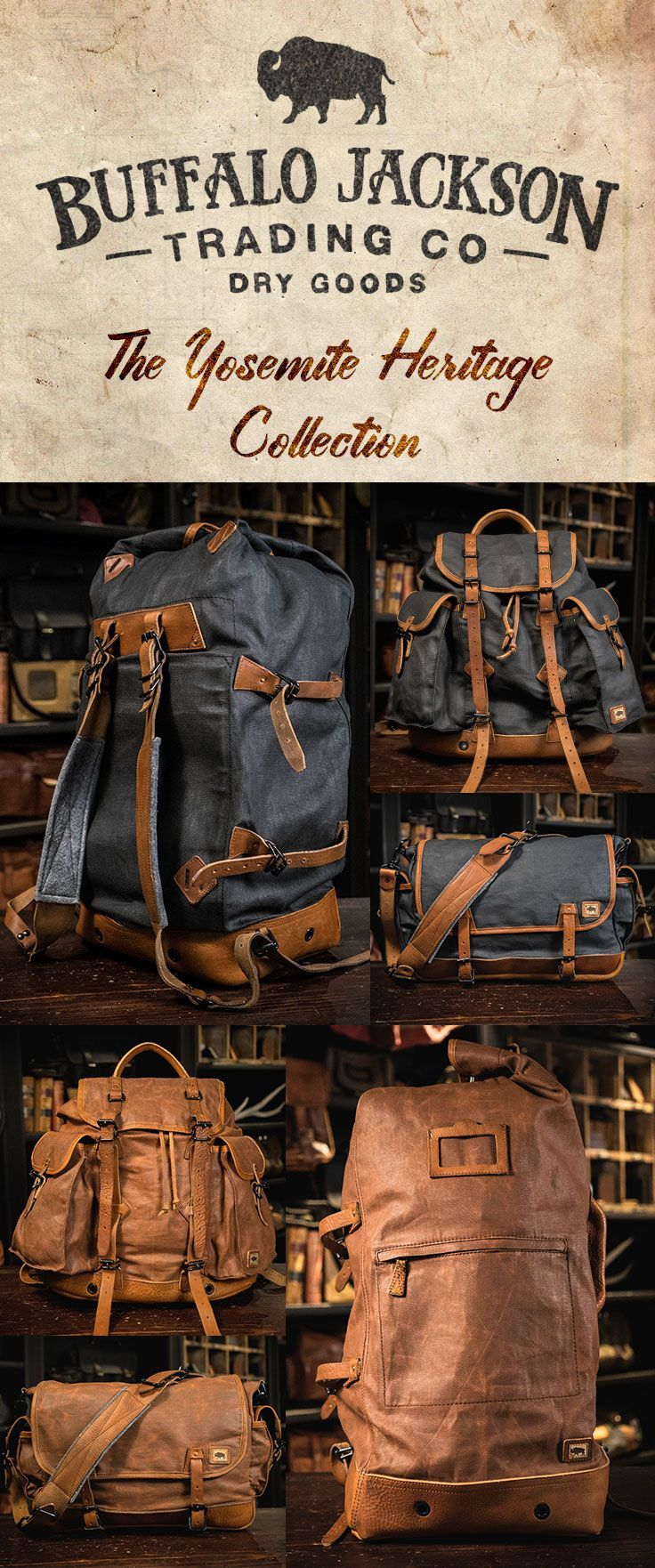 Crafted of waxed canvas and full grain leather with distressed vintage finish, these bags were built to honor the memory of good men and good days. One of the best gifts for him this Christmas - or any time of year. vintage military duffle backpack   vintage military rucksack   vintage military messenger bag