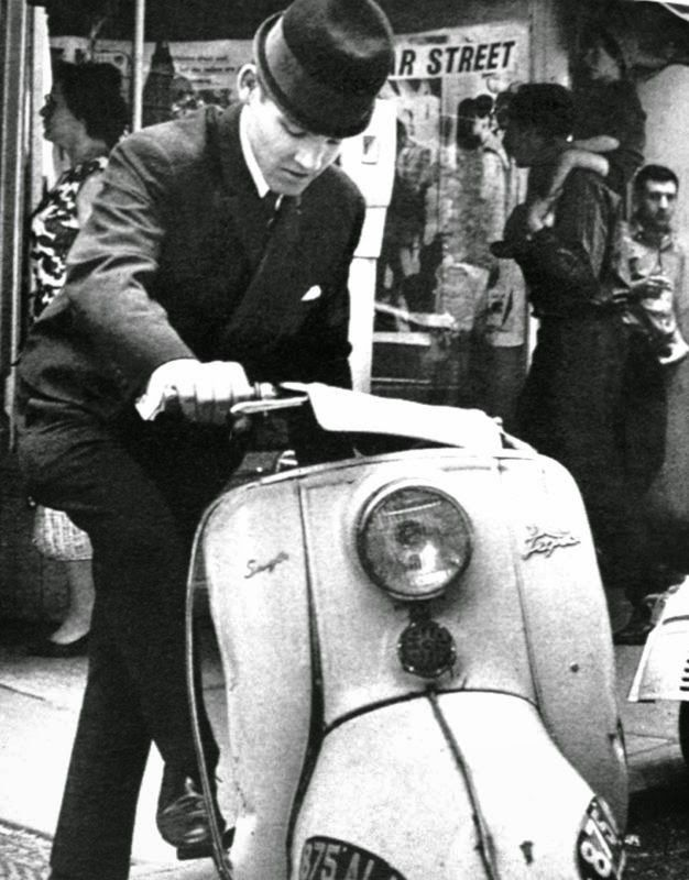 BSA scooter, sharp suit and pork pie hat, from the book The Sixties: A Pictorial Review