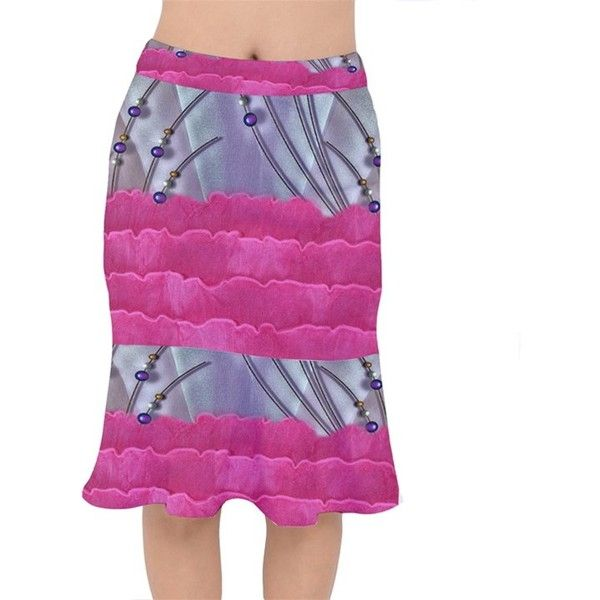 Short Mermaid Skirt CowCow ($42) ❤ liked on Polyvore featuring skirts, fitted pencil skirt, purple pencil skirt, stretch pencil skirt, stretchy pencil skirt and short ruffle skirt