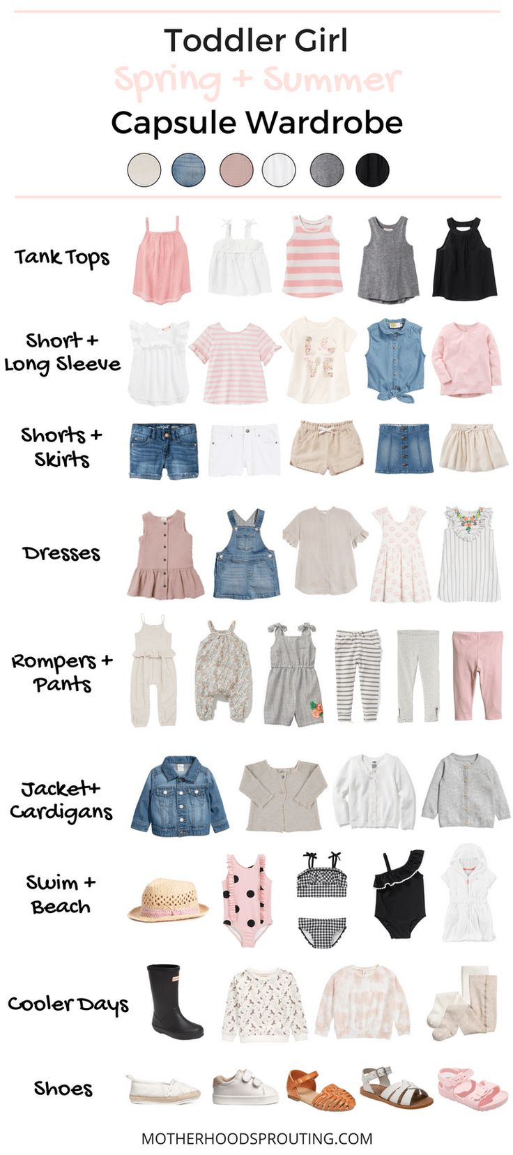 Toddler Girl Capsule Wardrobe: Spring and Summer! A summer wardrobe for your toddler girl! Great toddler girl clothes for summer vacations or trips to the beach. This capsule wardrobe for summer can be used as a shopping checklist when your go to buy your toddlers summer clothes!
