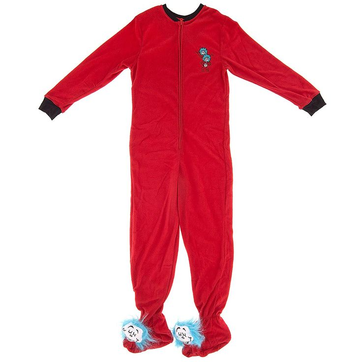 Thing One and Thing Two Footed Pajamas for Women - Footed Pajamas for Women - Who says Suess is for kids?  Check out these seriously cool Thing 1 and Thing 2 footed pajamas for women.
