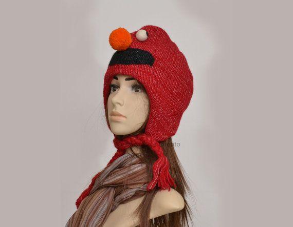 Elmo animal hat   warm hat  knit hat  beanie by HatsMittensEtc