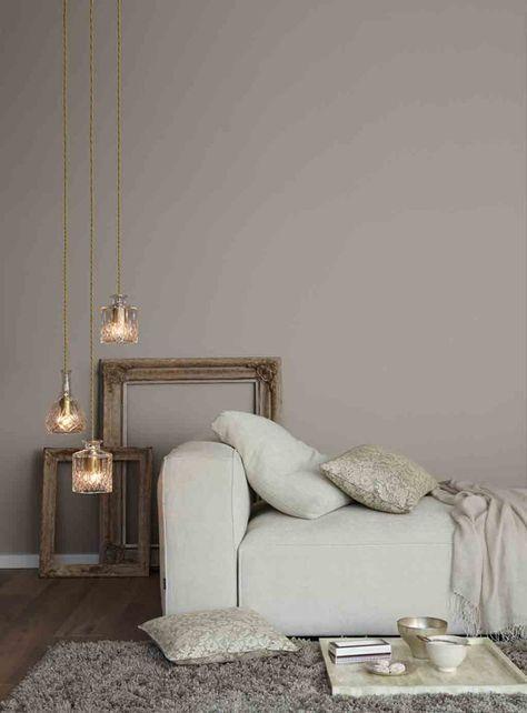 Graue Wand im Wohnzimmer Alpina Feine Farben No. 0…