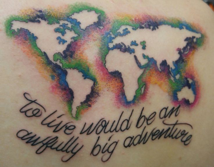 Sweet negative space watercolor world map tattoo from Dustin at Self Inflicted Studios in St Peters Mo