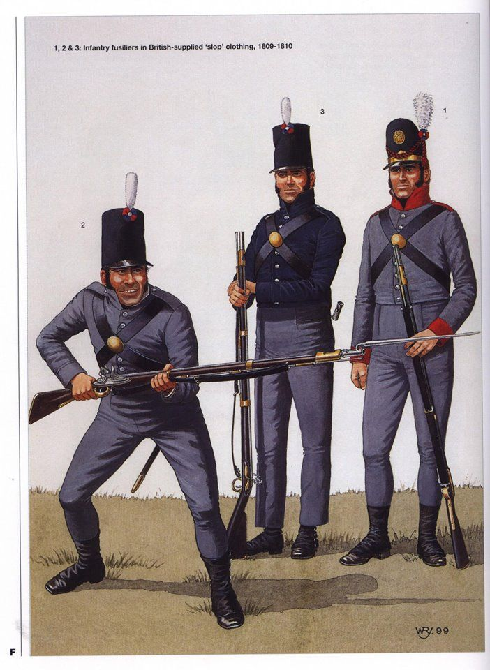 Portuguese; Infantry Fusiliers in British supplied 'slop' clothing, 1809-10