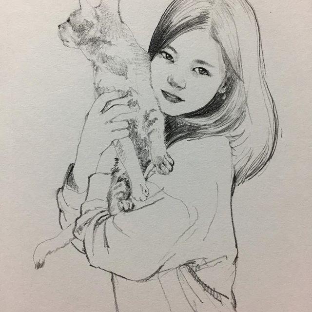 야옹아 앞에 봐야지 @oceanoorchid 님. 매력적인 사진 #취미 #낙서 #그림 #스케치 #고양이 #hobby #doodle #drawing #cat #girl