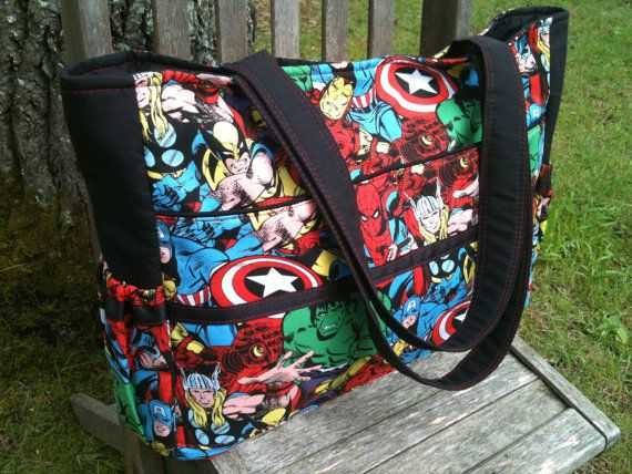 The ultimate diaper bag for dads, Marvel comic avengers and black  with magnetic snap on Etsy, $50.00