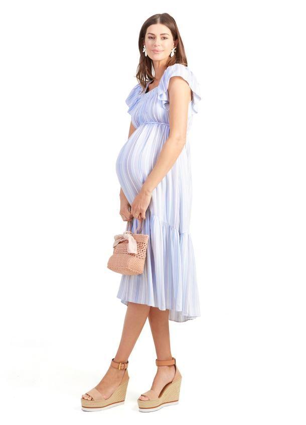 buy best various colors order Flutter Sleeve Maternity Midi Dress - Blue Multi Stripe / XS ...