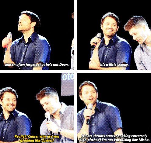 [gifset] Jensen making fun of Misha for talking as Castiel :) #Jensen #Misha #Jibcon14