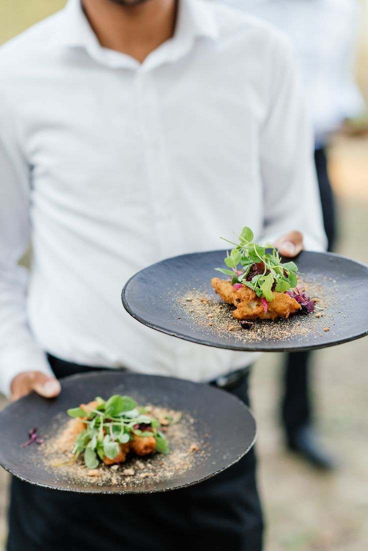 Fine dining cuisine - on these gorgeous charcoal plates - www.weddingconcepts.co.za