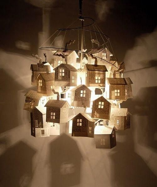 I love this book paper house chandelier. I can't find out who made it. If you know, please let me know.