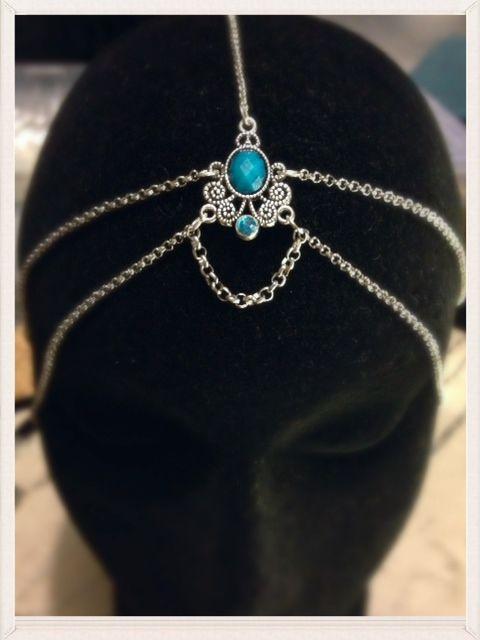 Handmade Blue Azura Silver Head Chain
