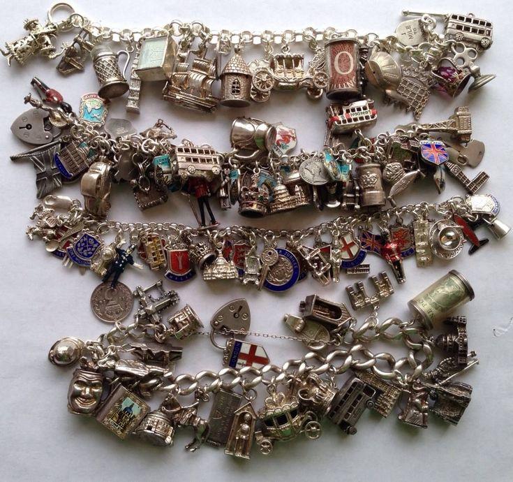 eCharmony Charm Bracelet Collection - England & English UK Vintage Charms #vintagebracelets