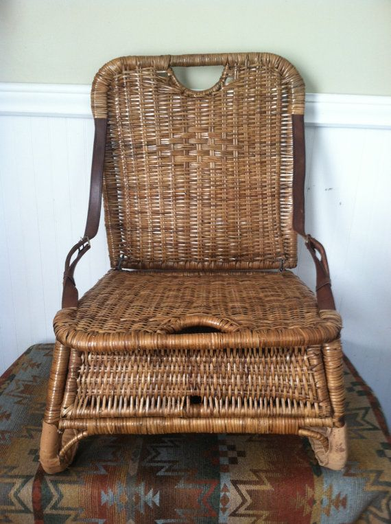 WICKER CANOE SEAT vINTAGE wICKER leATHER cANOE by ROGUESANDREBELS