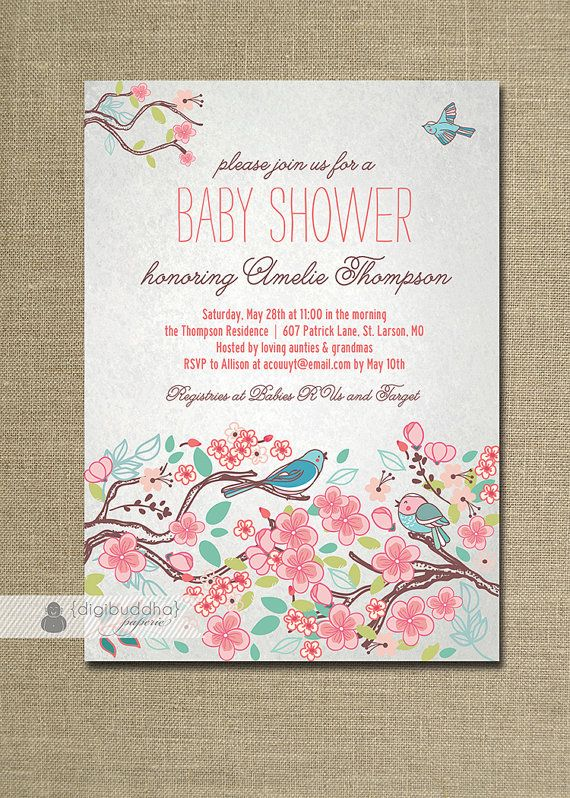 Bloom Bird Baby Shower Invitation Garden Tree Floral Baby Girl Rose Flower  Pink Gray Invite FREE PRIORITY SHIPPING Or DiY Printable   Amelie