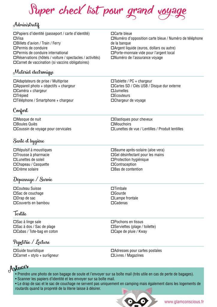 Super checklist pour grand voyage à télécharger - Glam & Conscious