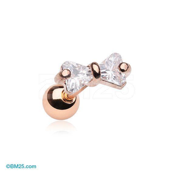 Or rose éclat noeud-papillon Gem Cartilage Tragus par BM25Jewelry