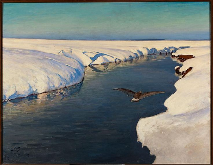 Julian Fałat, Pejzaż zimowy z rzeką i ptakiem