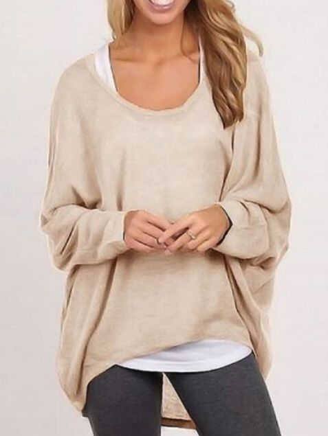 High Low Loose Apricot T-shirt -SheIn(abaday)