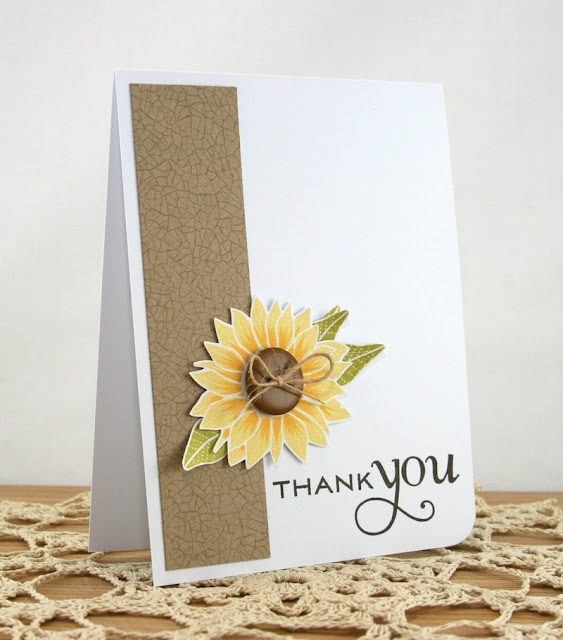 handmade card from Kloset Kreations: retrosketches #14 ... sunflower on a kraft band ... big THANK YOU ....