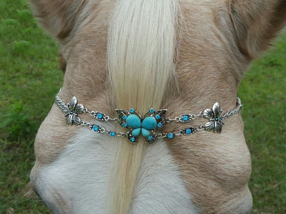 Turquoise Butterfly Browband for Horse, Draft, Pony, or Miniature Horse - Equine Bling Tack Jewelry - Metal Butterfly Brow Band