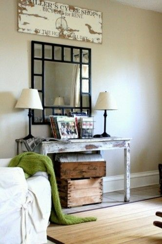 Love the wooden crates for blankets in the living room