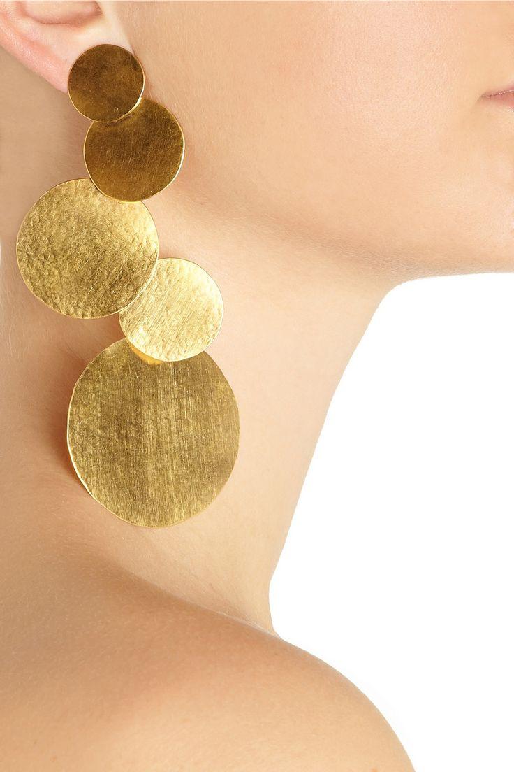 Hervé Van Der Straeten | Hammered 24-karat gold-plated disc clip earrings