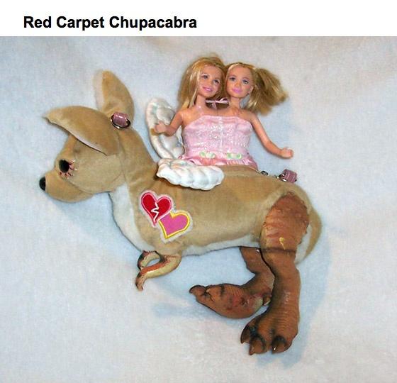 """Red Carpet Chupacabra"" - Olsen twins ride a genetically hindered kangaroo.: Carpets Chupacabra, Red Carpets, Olsen Twin"