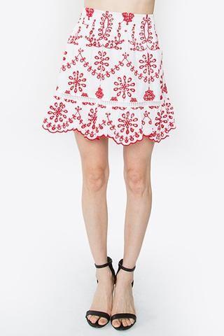 95176899f8ec Red and White Embroidered Eyelet SKIRT   Dresses & Skirts   Eyelet ...