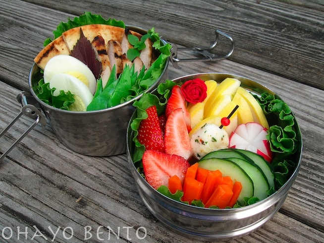 Lunch Bento: Grilled chicken pitas