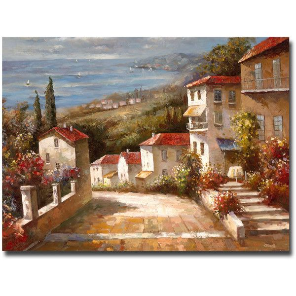 Joval 'Home in Tuscany' Canvas Wall Art ($112) ❤ liked on Polyvore featuring home, home decor, wall art, giclee painting, canvas wall art, landscape wall art, cityscape painting and canvas home decor