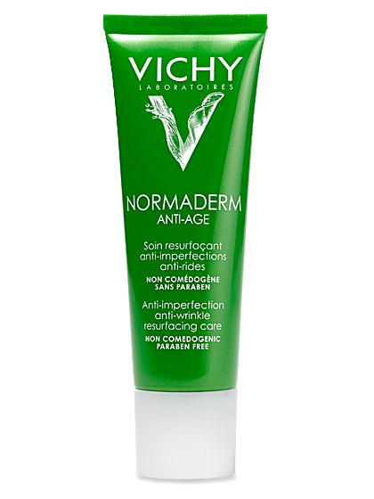 This lotion is light, not tacky, and treats lines and dark spots left by acne with alpha hydroxy acids - VICHY anti-age cream. The Ultimate Anti-Aging Routine You Can Buy at the Drugstore