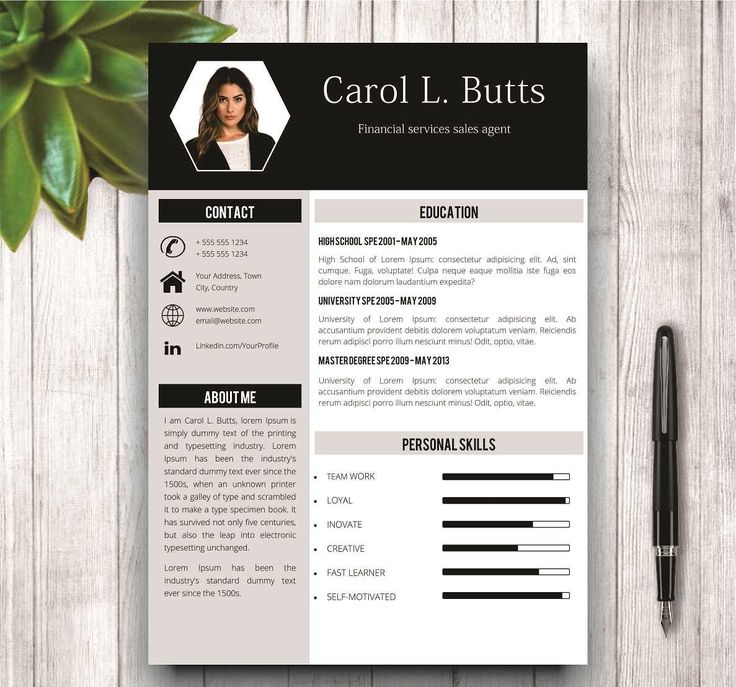 Clean Resume Template With Photo by wordresume on @creativemarket