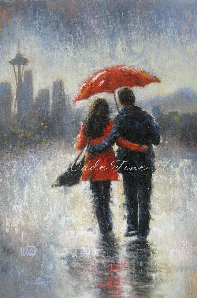 Seattle Lovers in the Rain Art Print Seattle rain love rain couple romance red umbrella space needle home decor Vickie Wade art (20.00 USD) by VickieWadeFineArt