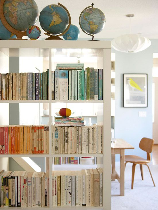 Bookcases as open dividers {bhg}:  Cots, Bookshelves, Living Rooms, Open Shelves, Open Spaces, Color, Globes, Book Shelves, Rooms Dividers