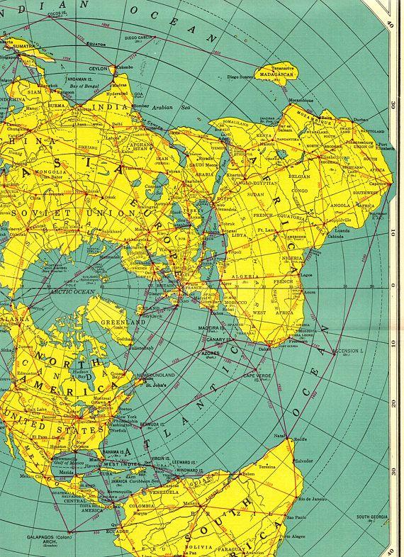 1955 Rare Polar World Map Poster Print Antarctica Map Arctic North