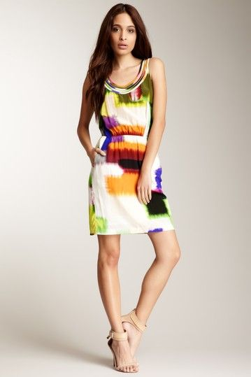CLUNY By Designer Cynthia Steffe Paneled Scoop Neck Multicolor Silk Dress//