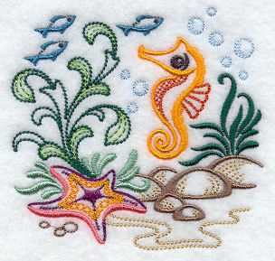 Seahorse Towel - Starfish Towel - Fish Towel - Tropical - Embroidered - Flour Sack Towel - Hand Towel - Bath Towel - Apron - Fingertip Towel by misty1718 on Etsy