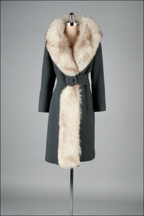Vintage grey wool and fox fur coat, 1960s. Find a great fur coat in Toronto - visit the Yukon Fur Co. at http://yukonfur.com