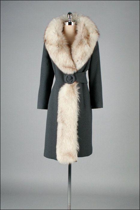 Vintage grey wool and fox fur coat, 1960's.