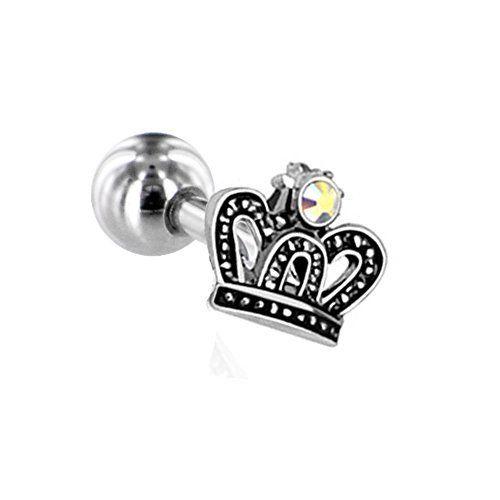 16 Gauge Royal Crown Tragus Labret Monroe, Stainless Stee...