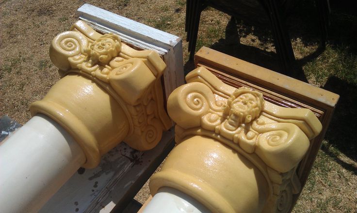 Carving the foam capitals for skull mausoleum pillars