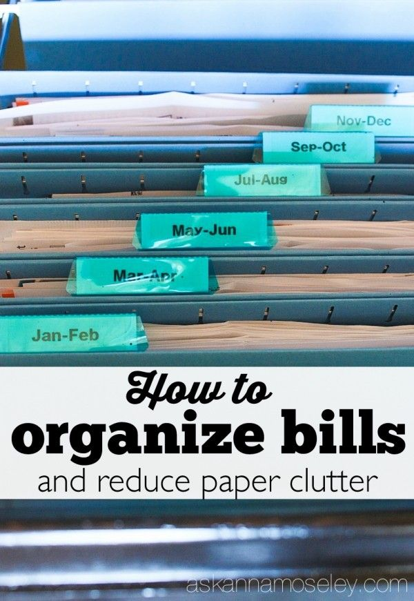 This very simple method for organizing bills and reduce paper clutter will get your bill organized and reduce your clutter and stress | Ask Anna