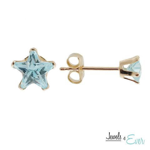 You'll be first among stars with these splendid earrings. They are timeless yet versatile. They're the ideal birthday or wedding gift. 14kt Yellow Gold set with 4 mm star-shaped Blue Cubic Zirconia