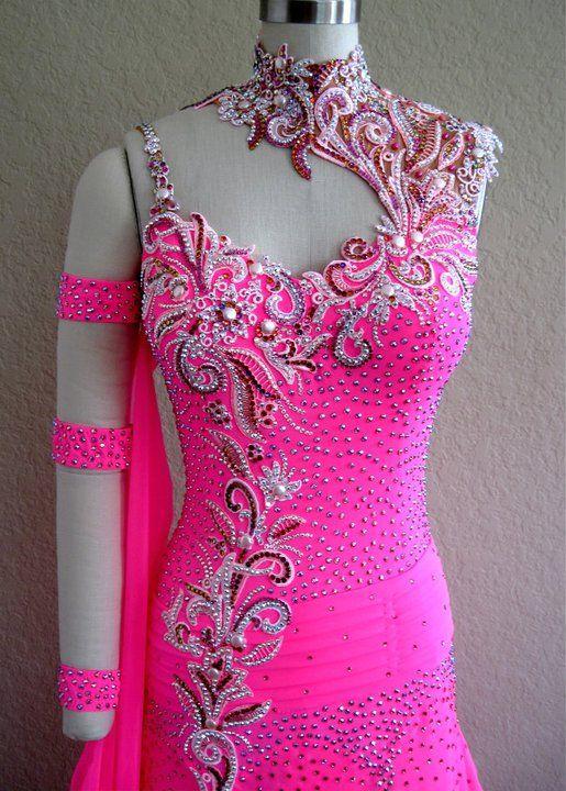 Custom made hot pink ballroom dance costume designed and created by Sonja Ballin. All Designs copyright ©2014, Sonja Ballin of Tampa Bay, Florida. www.sonjadesigns.com