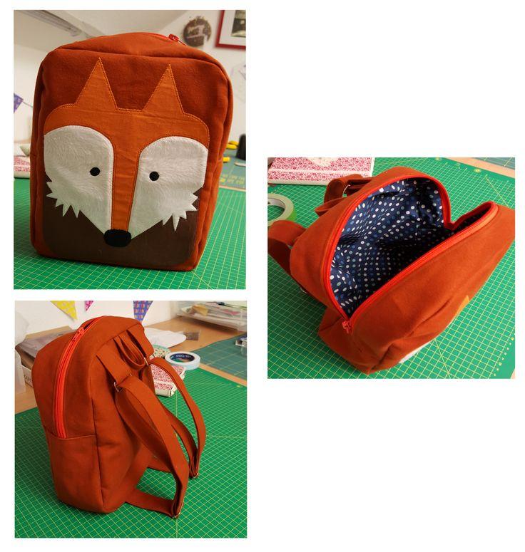 Kinderrucksack nach dieser wunderschönen Vorlage: http://www.sewmuchado.com/2015/03/bunny-toddler-backpack-free-pattern-2.html  Das Motiv wurde in Anlehnung dieser hübschen Schühchen  http://cdn.hans-natur.de/images/lederpuschen-krabbelschuhe-bio-leder-fuchs-braun-pololo_f_f961b9b017ebfa03d2d1de304e3ff5f5.jpg  entworfen.