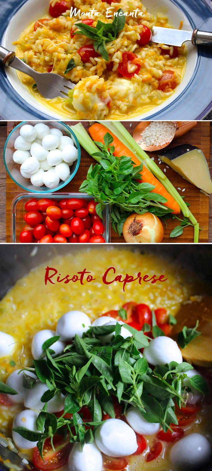 Risoto Caprese - tomatinhos sweet, manjeicão, muzzarela de búfala fresca e molho natural feito junto e ao mesmo tempo que o risoto. Lindo,  colorido e incrivelmente saboroso e pronto em menos de 30min.  di vi no