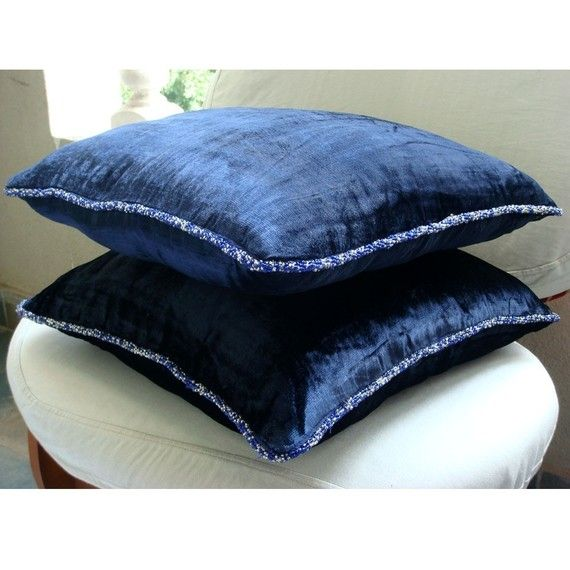 Navy Blue Throw Pillows Cover For Couch  Square  by TheHomeCentric