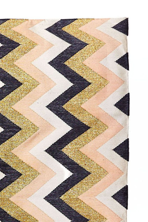 Chevron Rug - Peach/Gold by Langdon Ltd. Langdon Ltd's rugs are incredible. They're all handwoven by artisans using the finest cottons and metallic threads. This is a luxe gift that will keep on giving. Everyone loves a great rug, but they are not that easy to find.